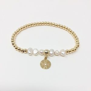 3/$45 Pearl and Gold Medallion Bracelet
